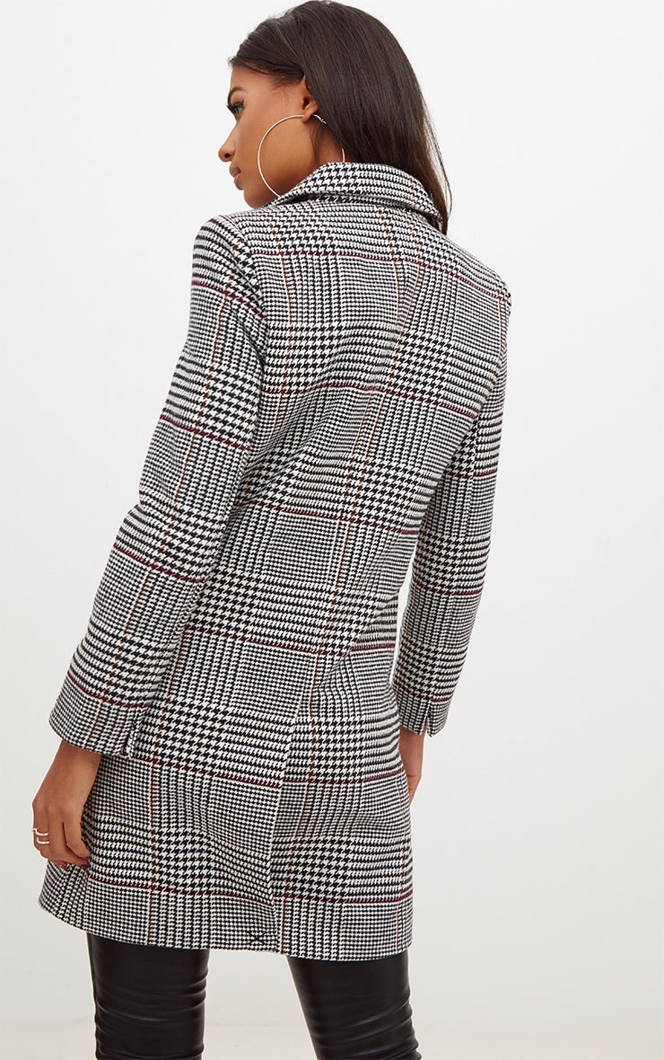 Grey Check Double Breasted Wool Coat 2