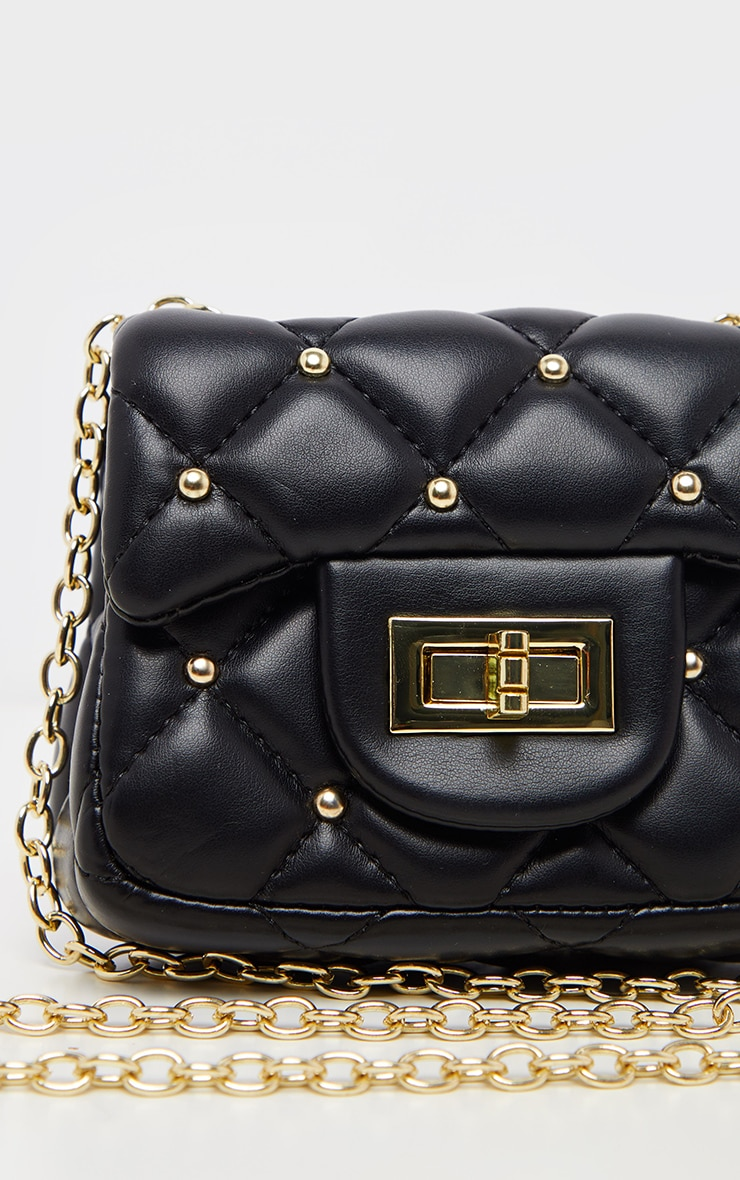 Black PU Quilted Studded Mini Cross Body Bag  4
