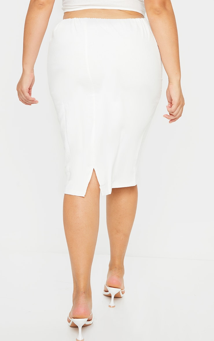 Plus White Woven Tie Waist Midi Skirt 3