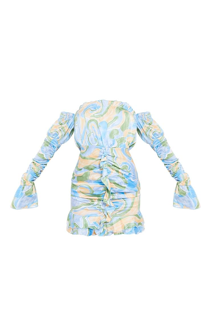 Blue Swirl Print Ruched Sleeve Bardot Bodycon Dress 5
