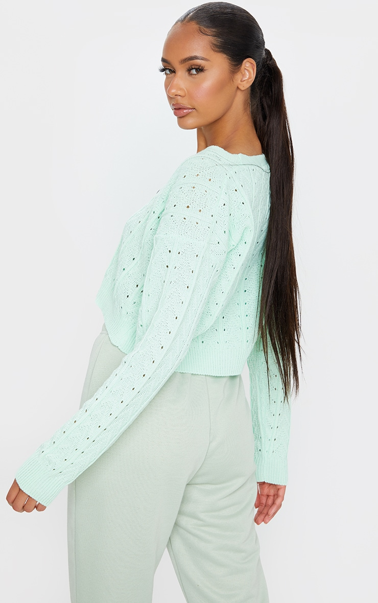 Mint Cropped Cable Pointelle Button Down Cardigan 2