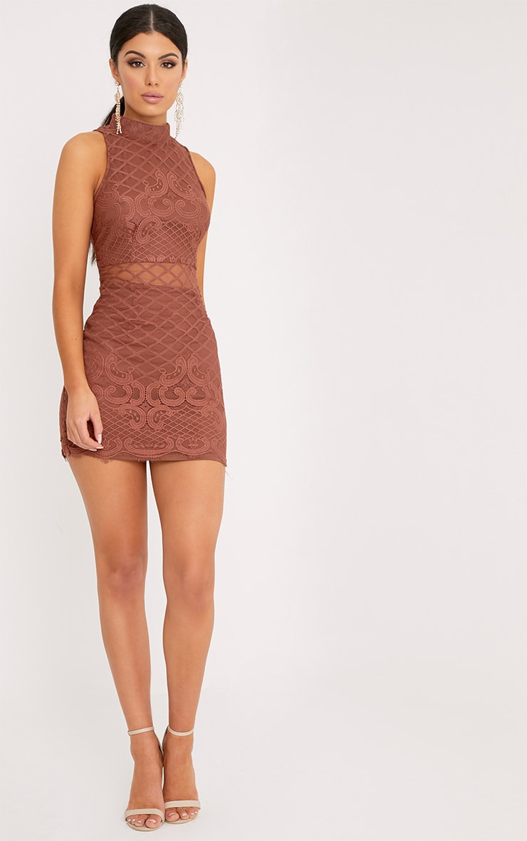 Aura Tobacco Lace Up Back Bodycon Dress 4