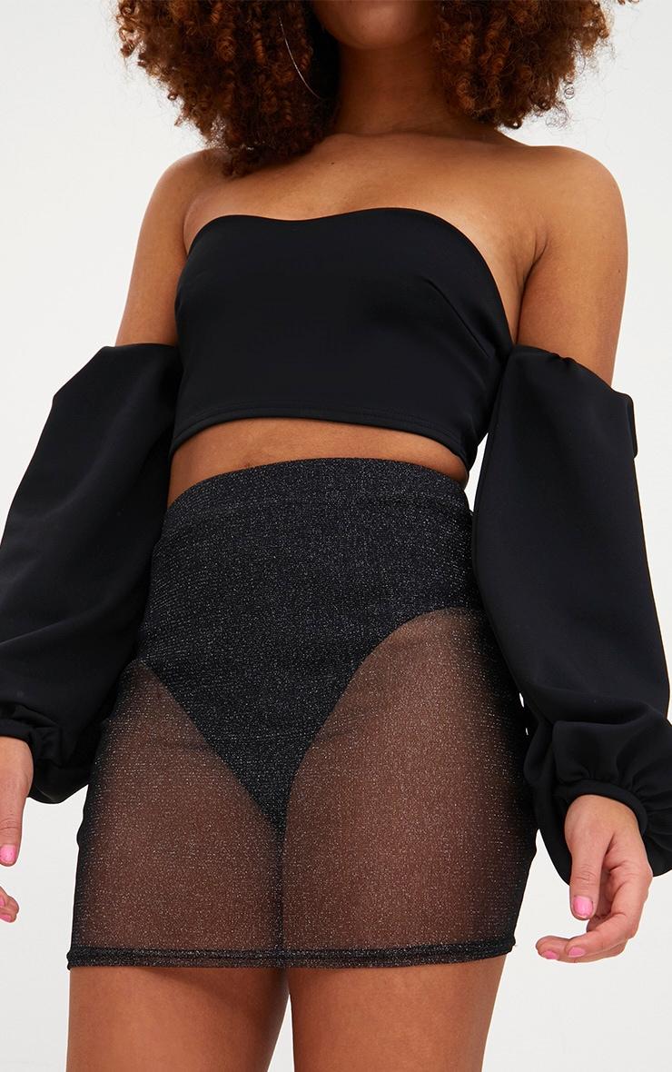Black Metallic Mesh Mini Skirt 6