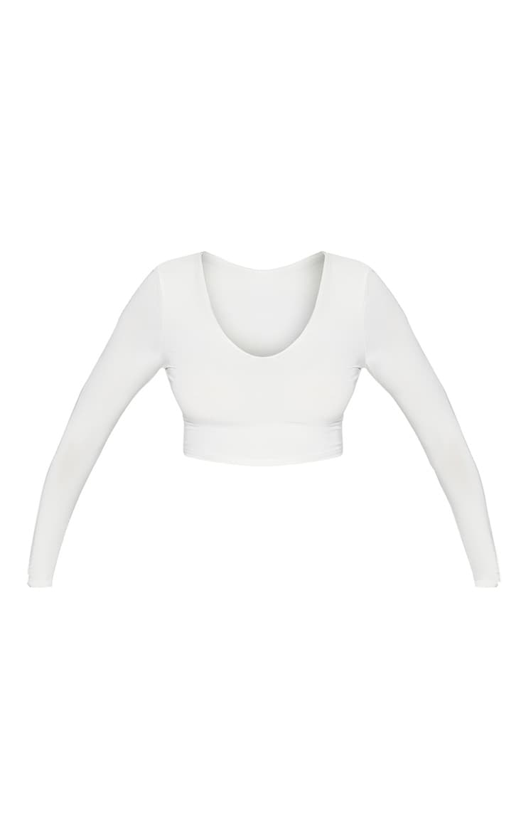 White Second Skin Long Sleeve V Neck Crop Top 2