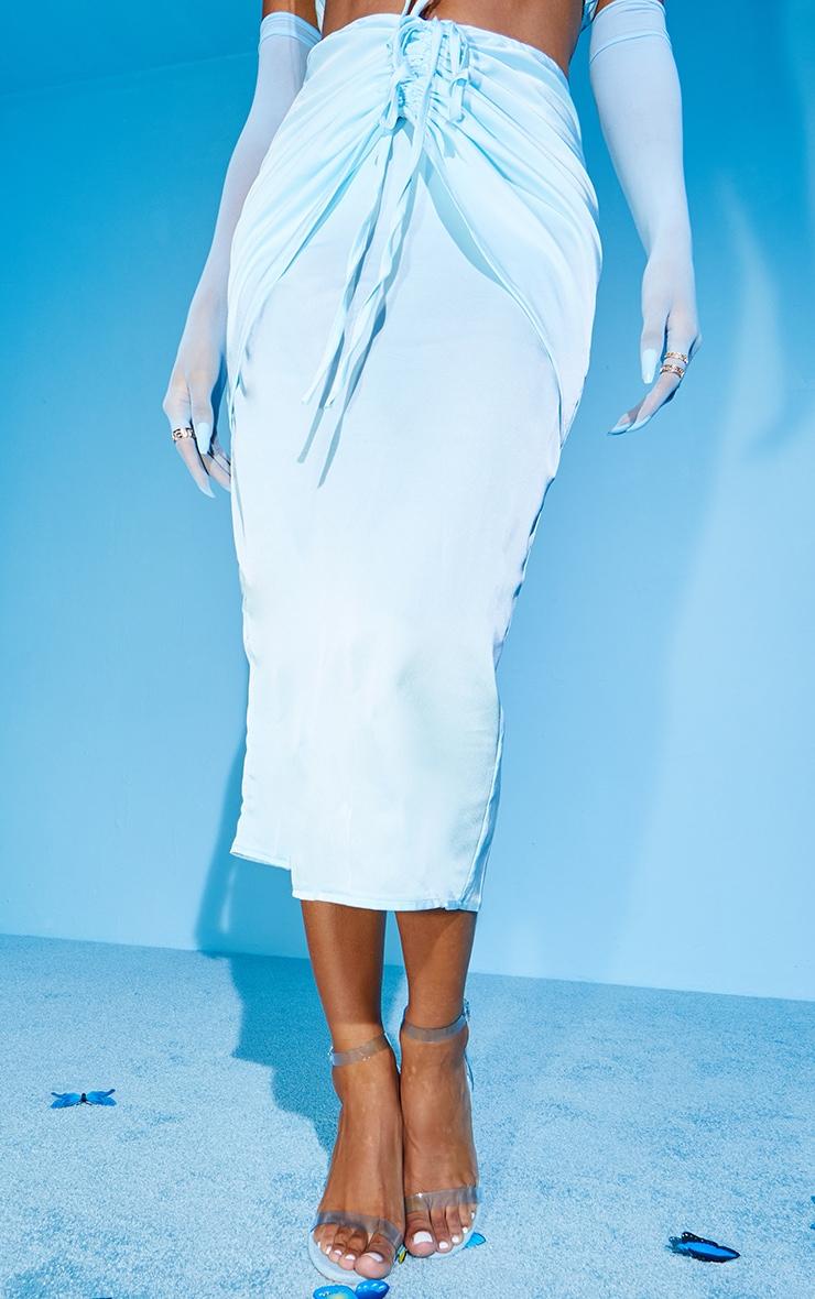 Baby Blue Satin Dip Hem Tie Front Midaxi Skirt 2