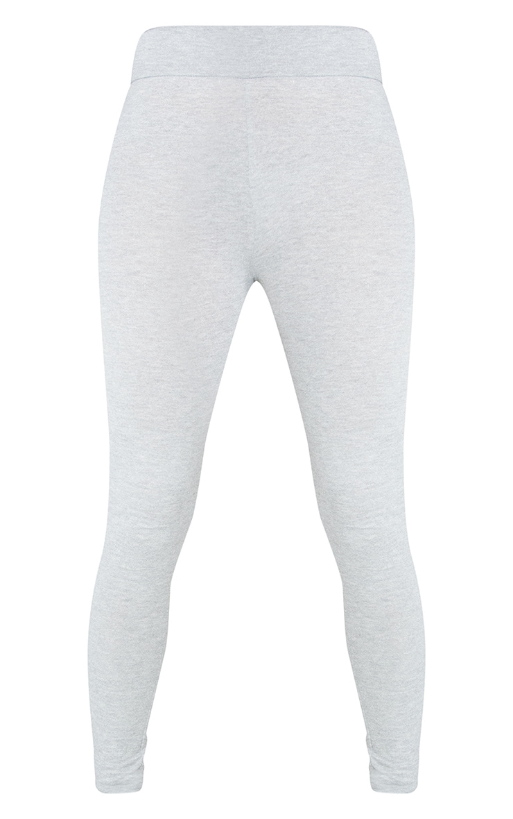 Essential Grey Cotton Blend Jersey High Waisted Leggings 5
