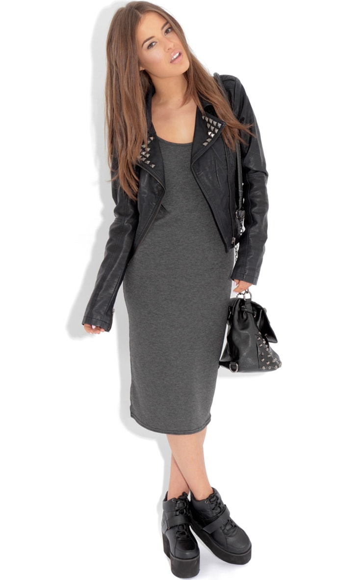 Jacinda Charcoal Jersey Vest Dress 3