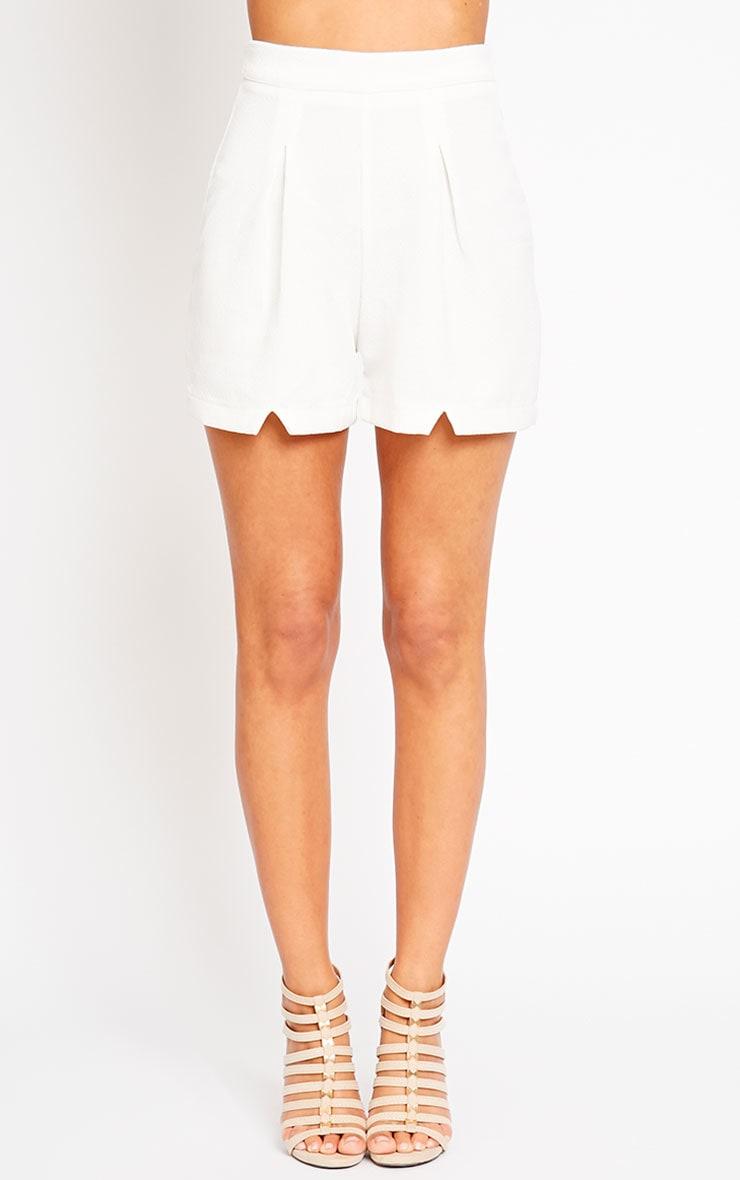 Raissa Ivory Notch Front High Waist Shorts 2
