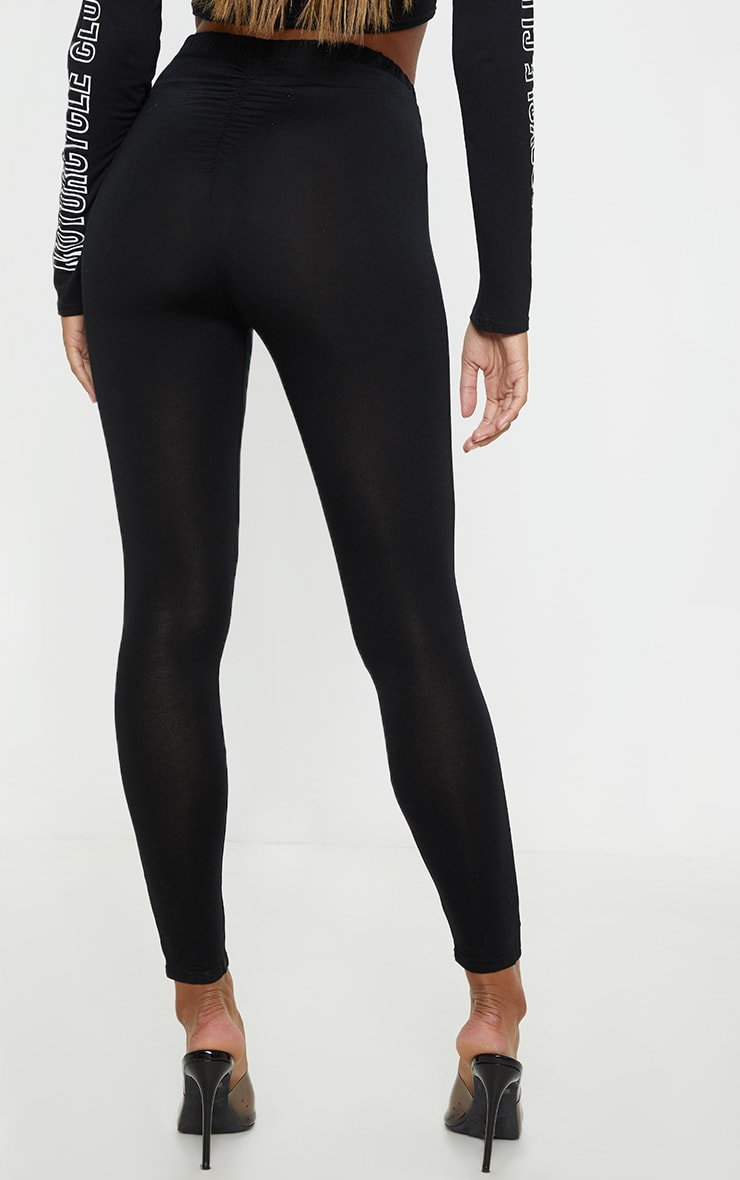 Black Ruched Back Jersey Leggings 4