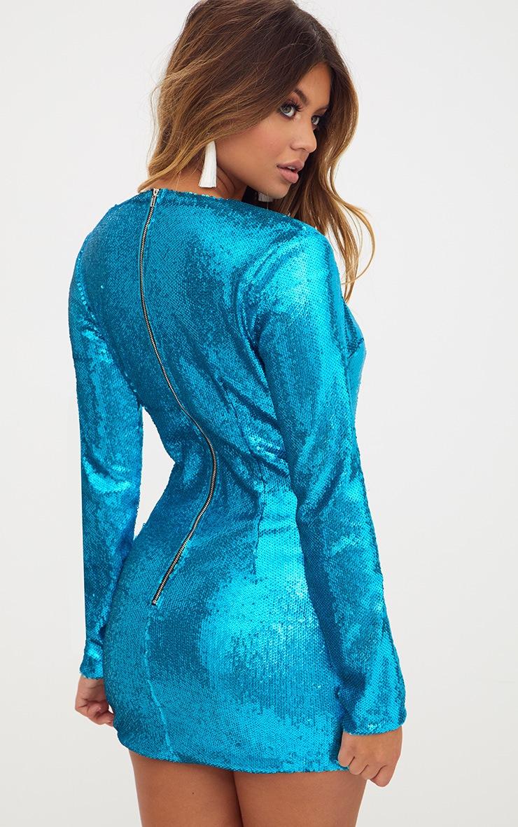 Turquoise Sequin Long Sleeve Plunge Curve Hem Bodycon Dress  2