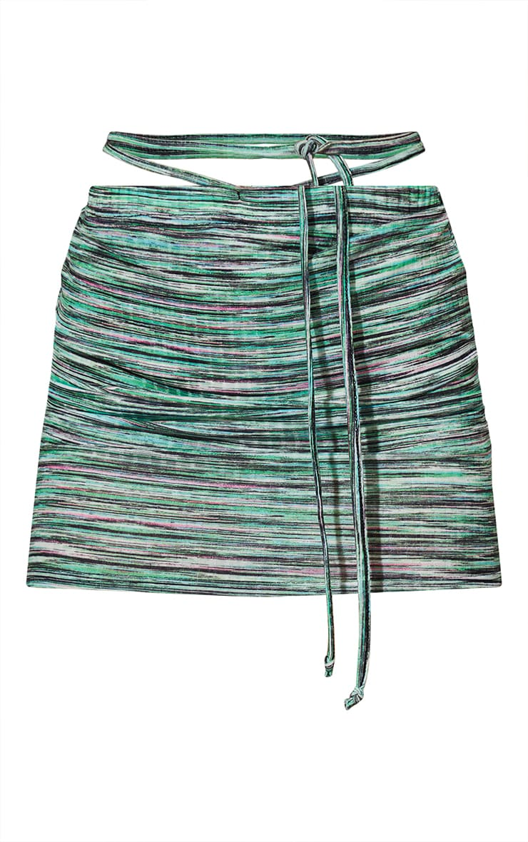Lime Stripe Ribbed Tie Waist Mini Skirt 6