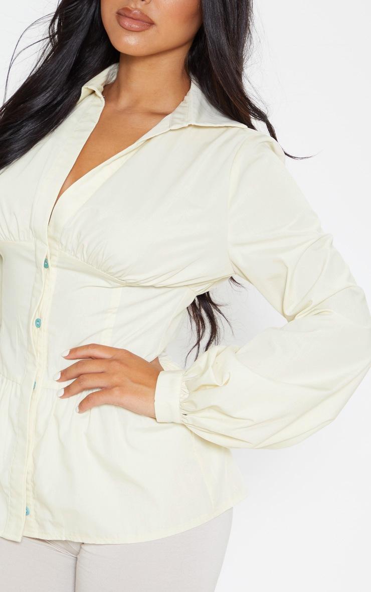Petite Cream Puff Sleeve Long Sleeve Panel Shirt 5