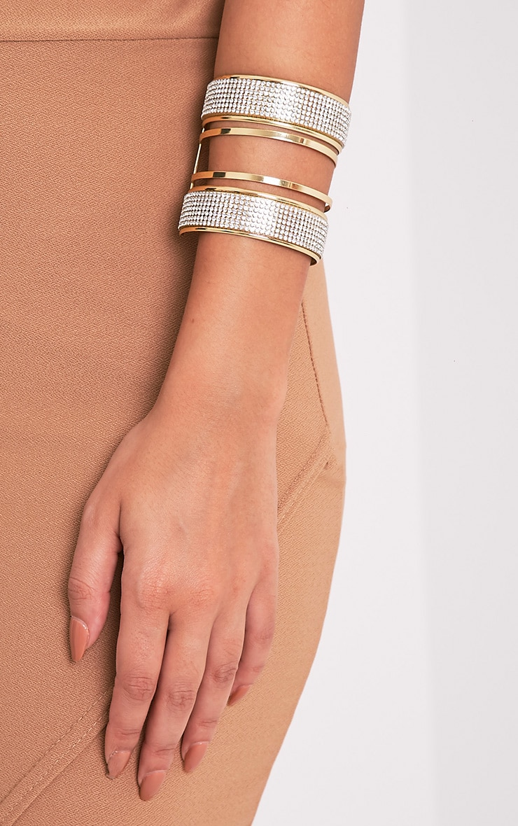 Gabi Gold Glitter Detail Bangle 1