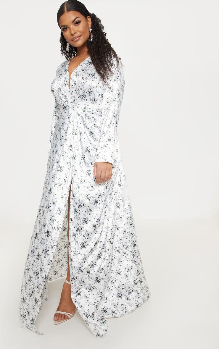 Plus White Floral Print Twist Front Maxi Dress 4