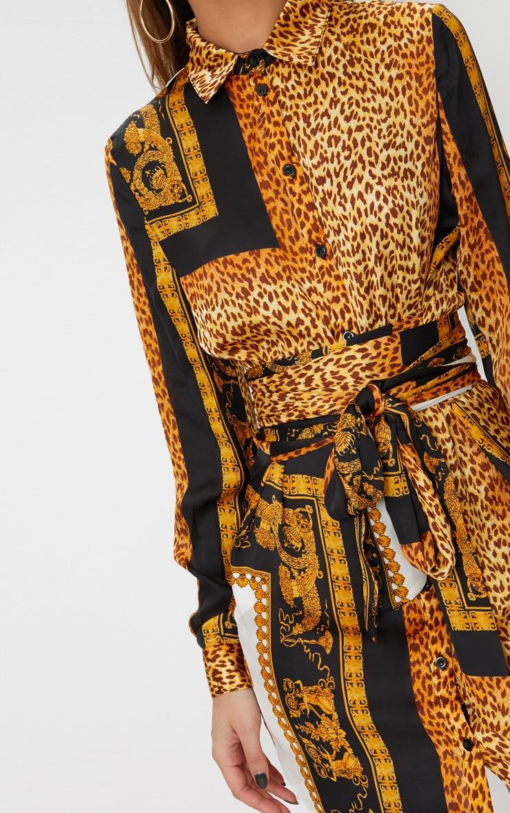 Black Leopard Tie Waist Shirt Dress 5