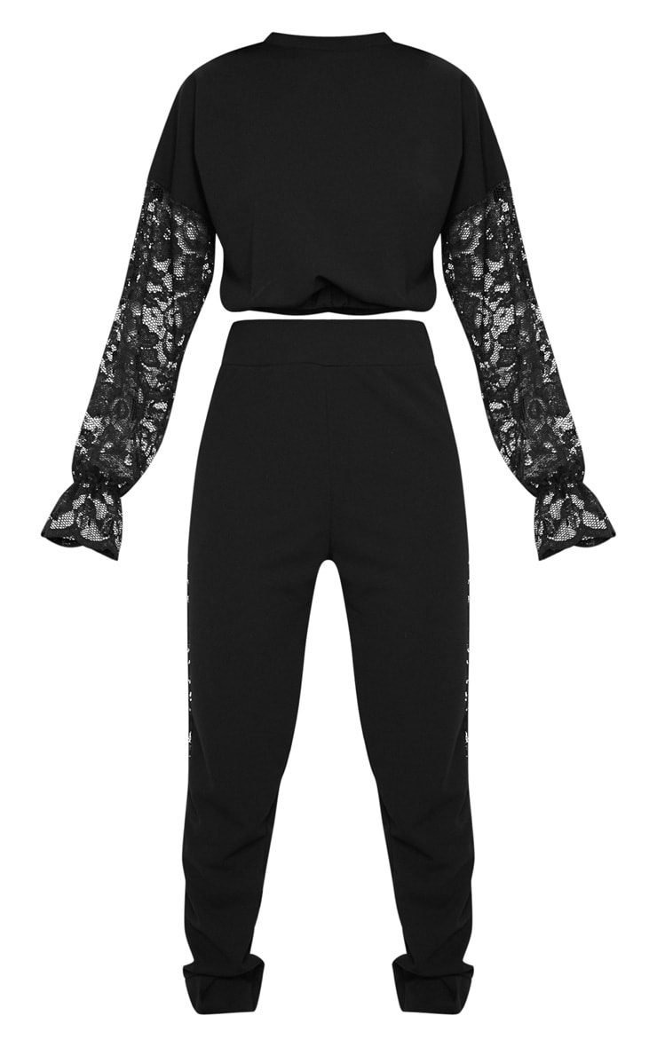 Black Lace Panel Sweater & Jogger Set 5