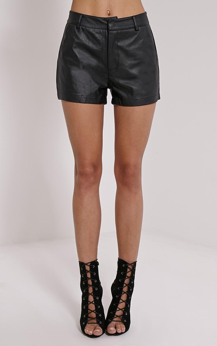 Pattie Black Faux Leather Shorts 2