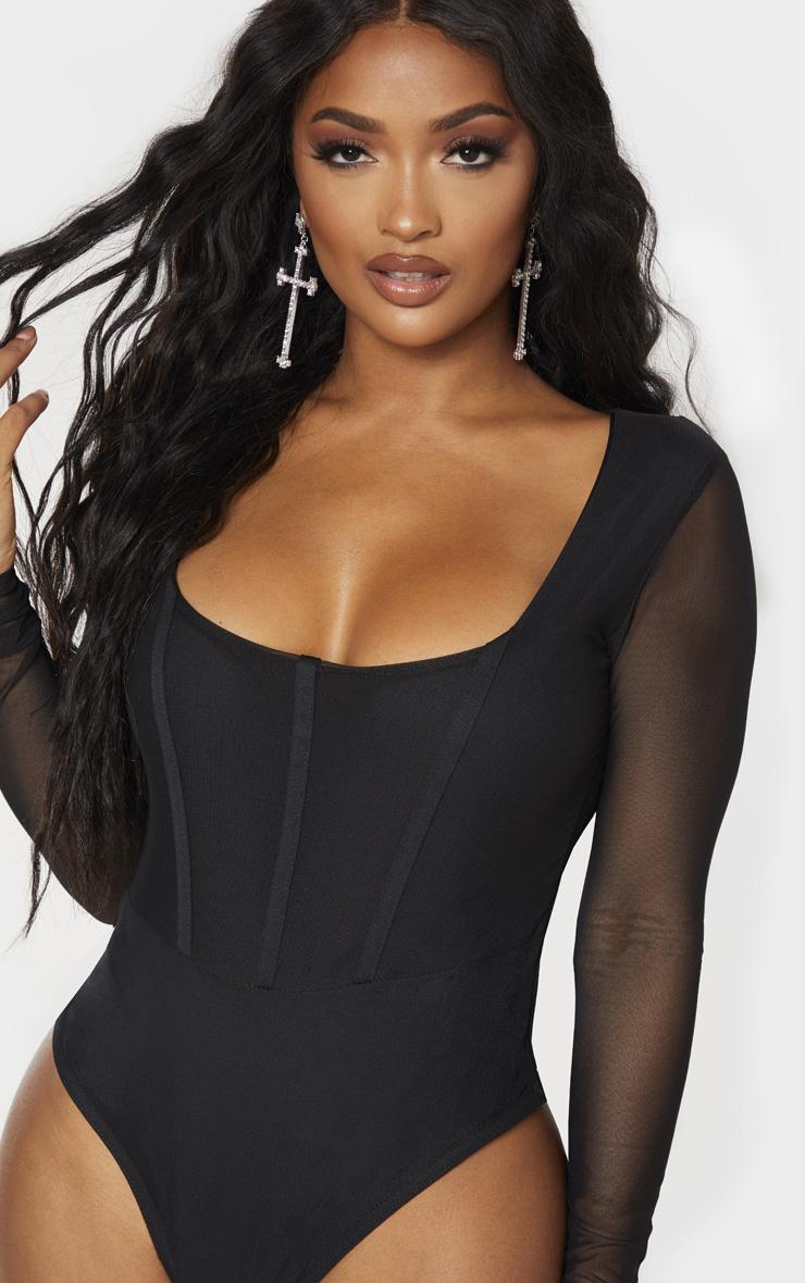 Shape - Body en mesh noir à col carré et coutures apparentes 4