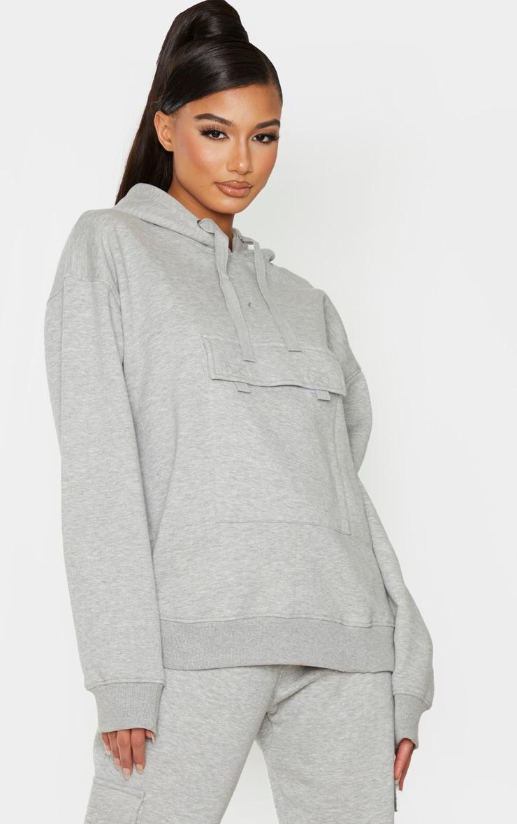 Grey Oversized Pocket Hoodie 1