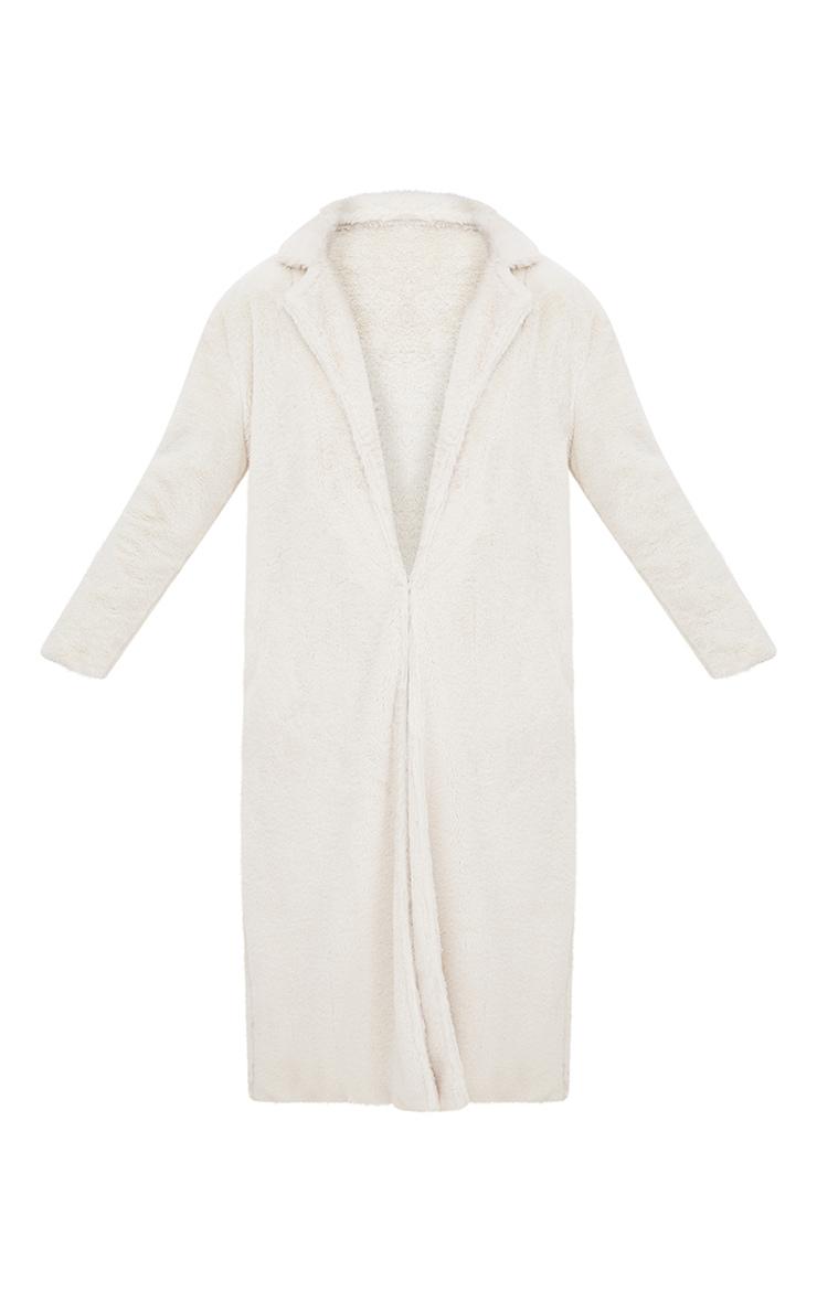 Manteau long crème en fausse fourrure 3