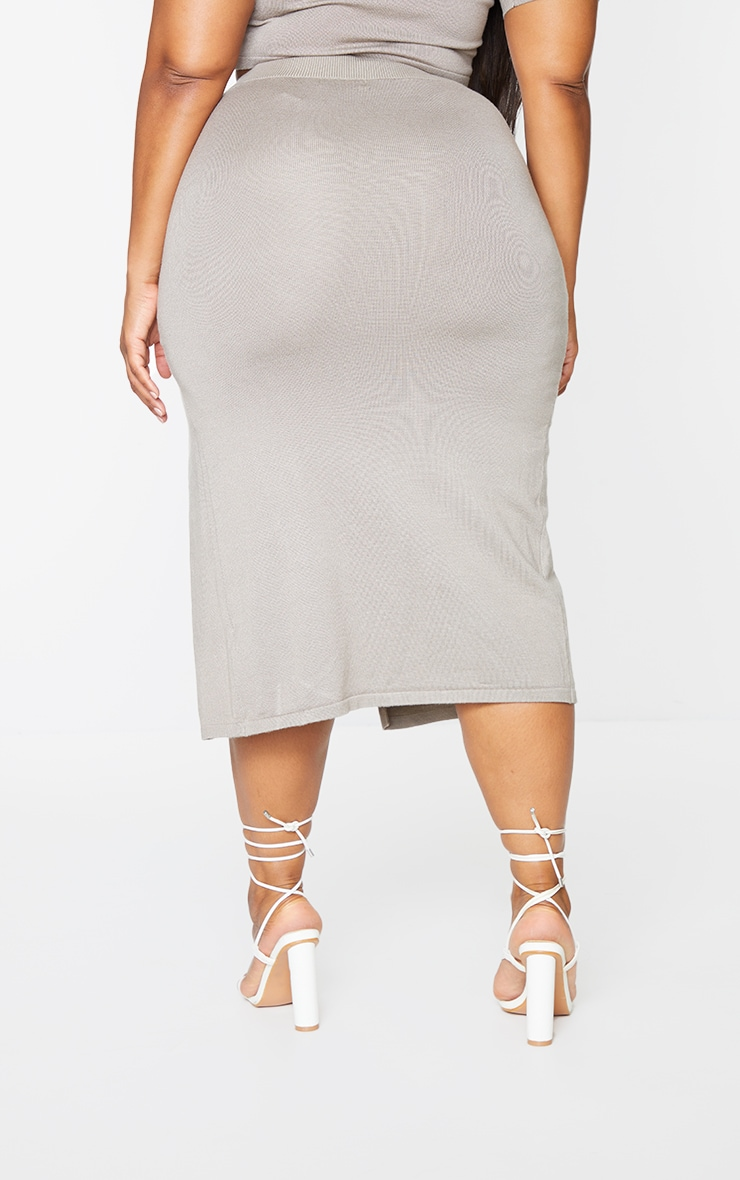 Plus Mocha Fine Split Knit Midi Skirt 3