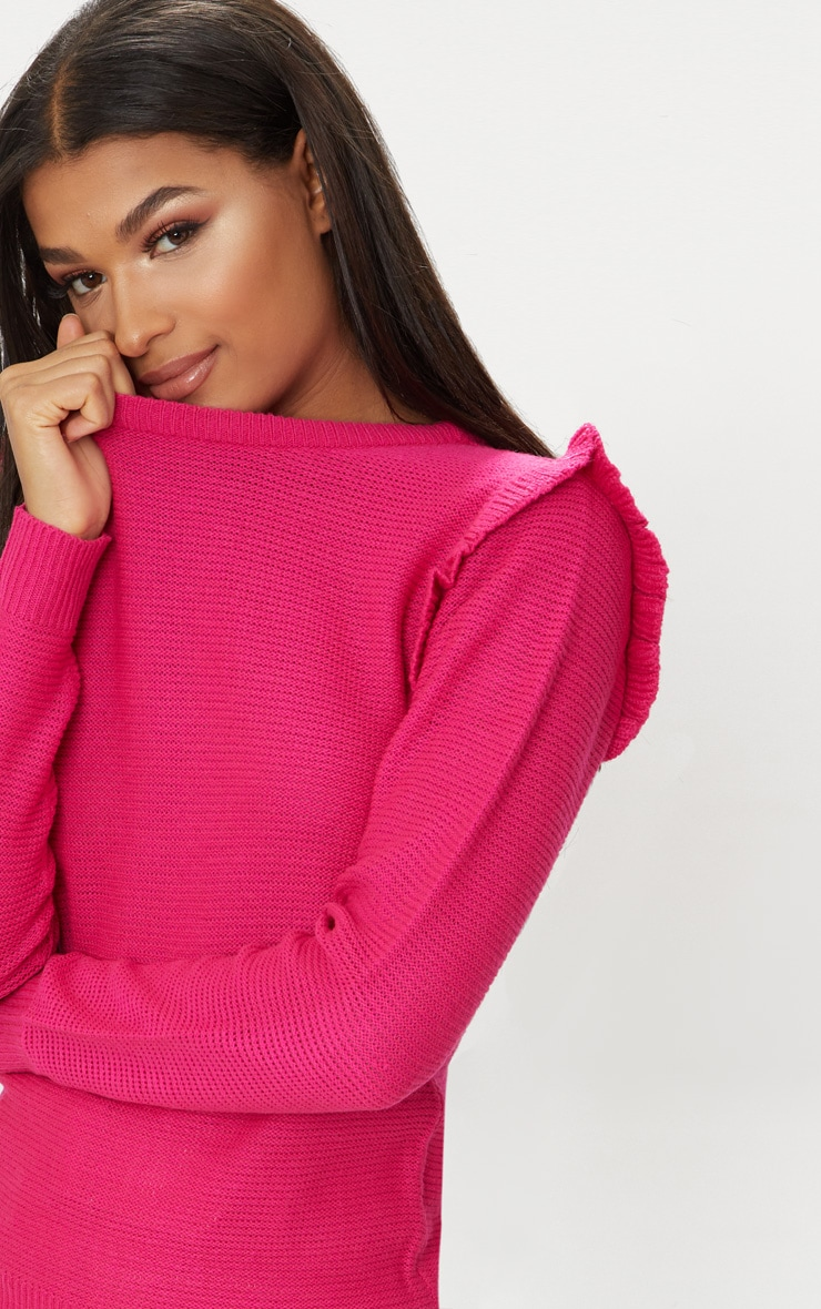 Hot Pink Frill Shoulder Jumper 5