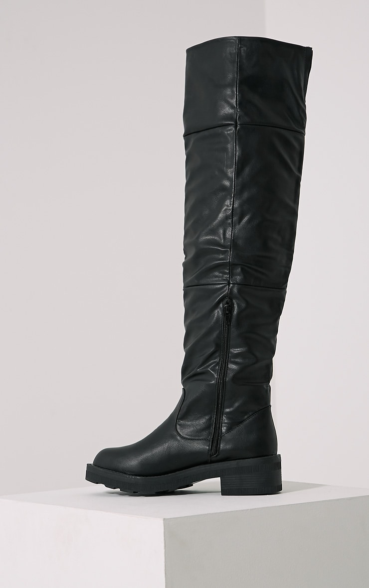 Varley Black Faux Leather Thigh High Flat Boots 4
