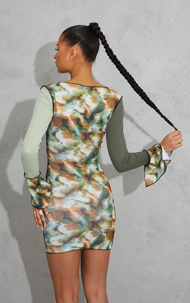 Green Tie Dye Patchwork Detail Overlock Stitch Long Sleeve Bodycon Dress 2