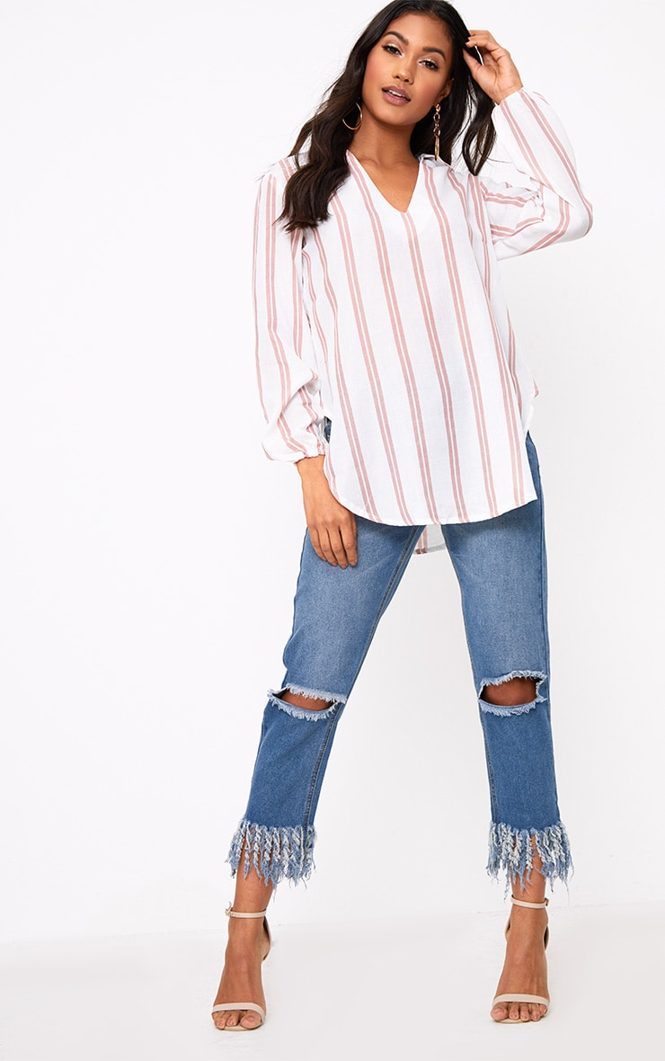 White Oversized Pink Stripe Shirt 4