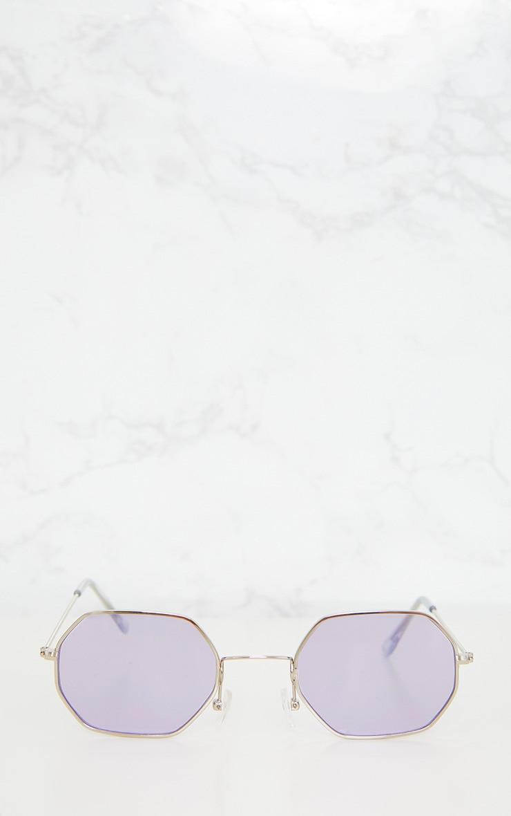 Lilac Hexagon Retro Sunglasses 3