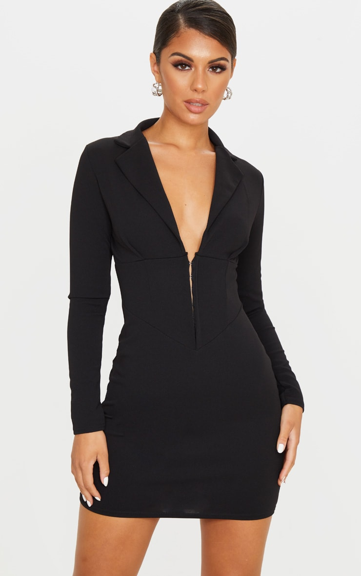 Black Long Sleeve Corset Detail Blazer Dress 1