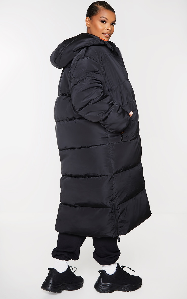 Plus Black Maxi Contrast Hooded Puffer Jacket 2