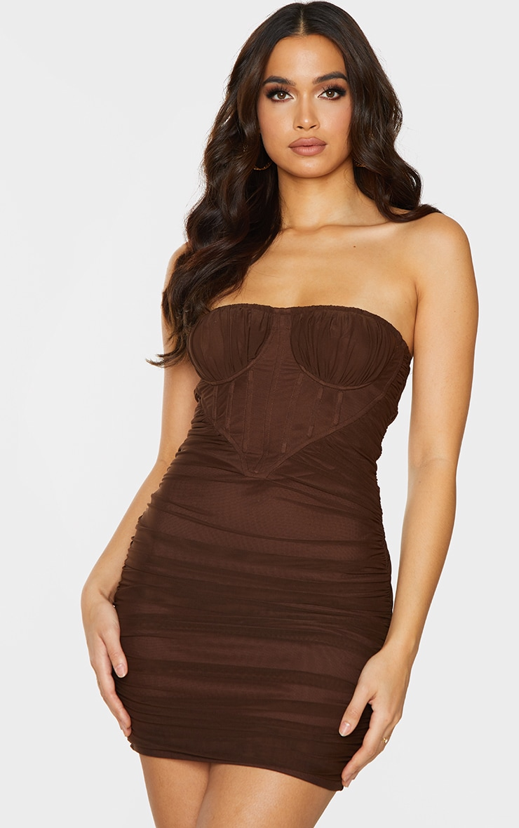 Chocolate Chiffon Corset Detail Ruched Bandeau Bodycon Dress 1