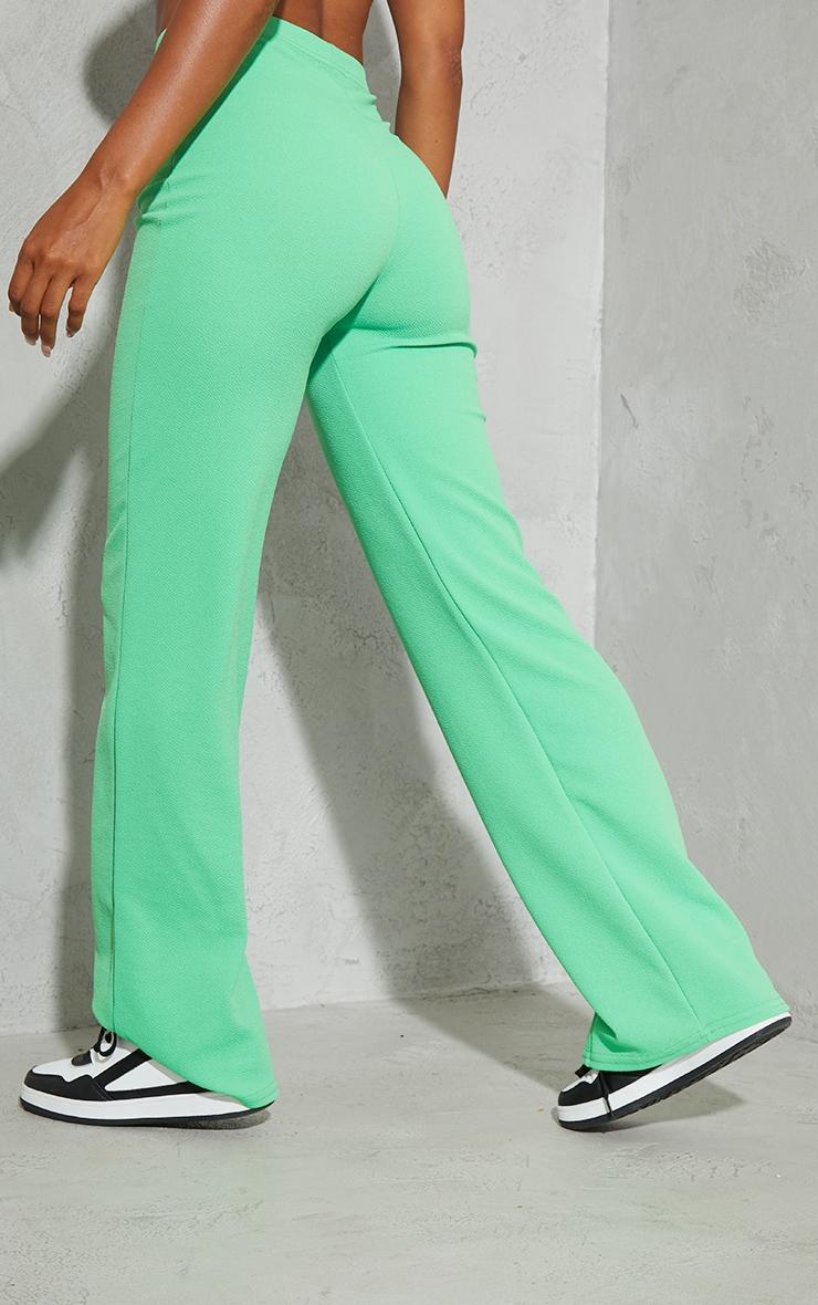 Bright Green Crepe Seam Front Wide Leg Pants 3