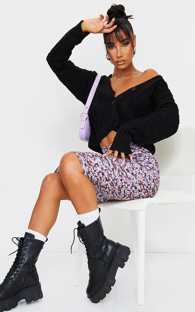 Black Floral Printed Midi Skirt 1