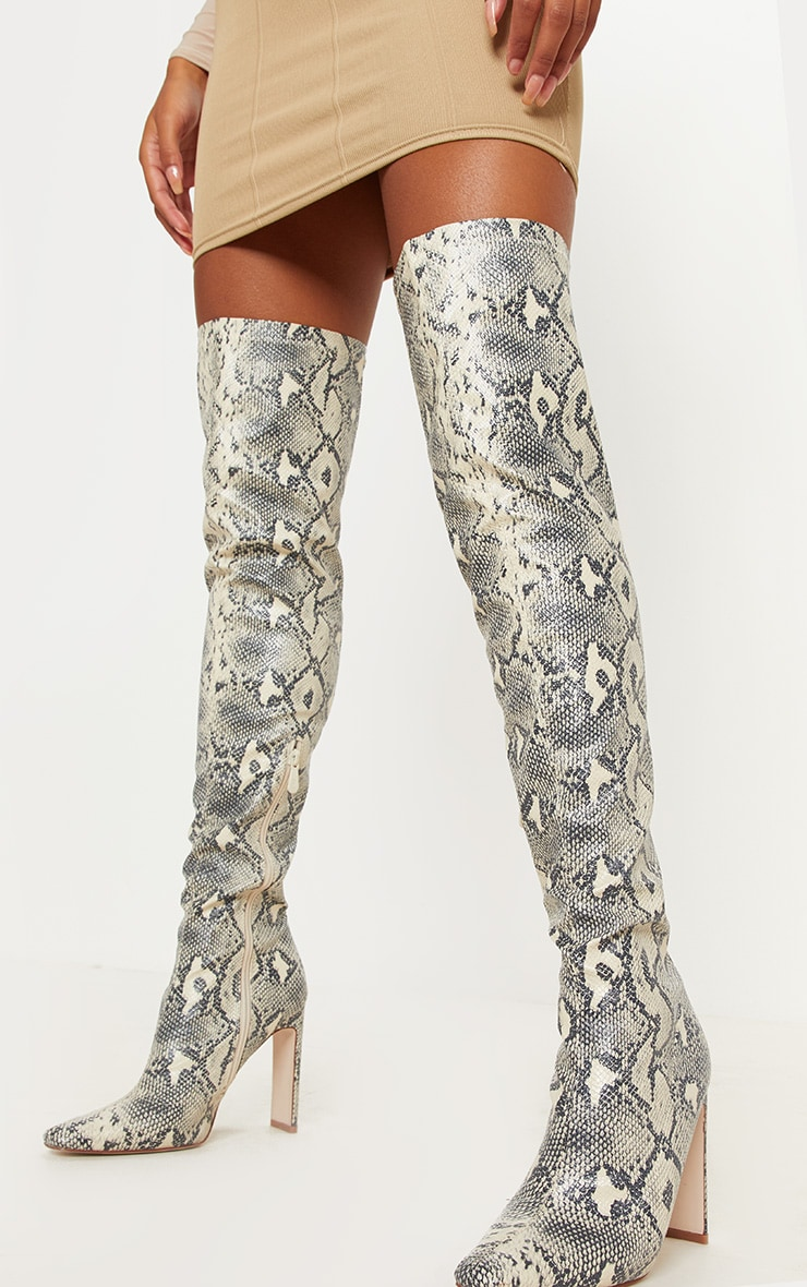 Snake Over The Knee Flat Heel Sock Boot  1