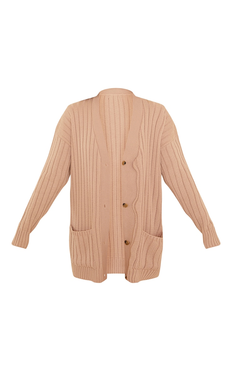 Camel Ribbed Knitted Button Up Pocket Cardigan 5