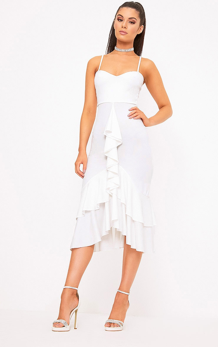 White Strappy Ruffle Front Midi Dress 1