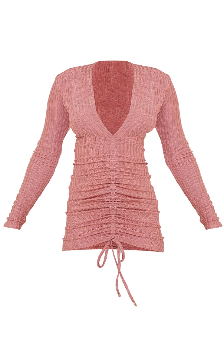 Pink Glitter Rib Long Sleeve Plunge Ruched Bodycon Dress 5