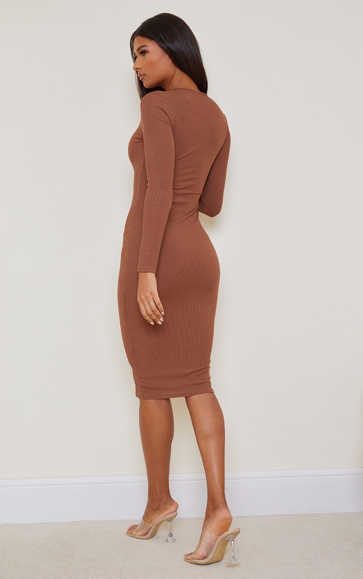 Chocolate Basic Ribbed Long Sleeve Midi Dress 2