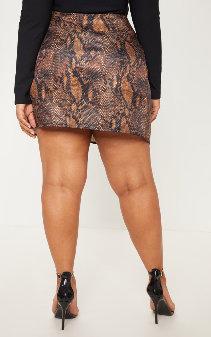 Plus Brown Snake Print Button Detail Wrap Mini Skirt 4