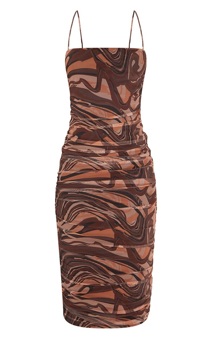 Tall Brown Swirl Print Mesh Ruched Maxi Dress 5