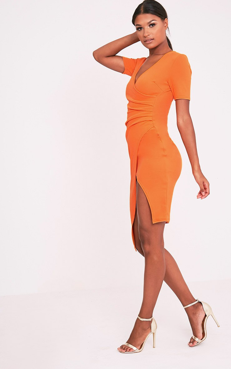 Ivie Orange Short Sleeve Wrap Front Midi Dress 5