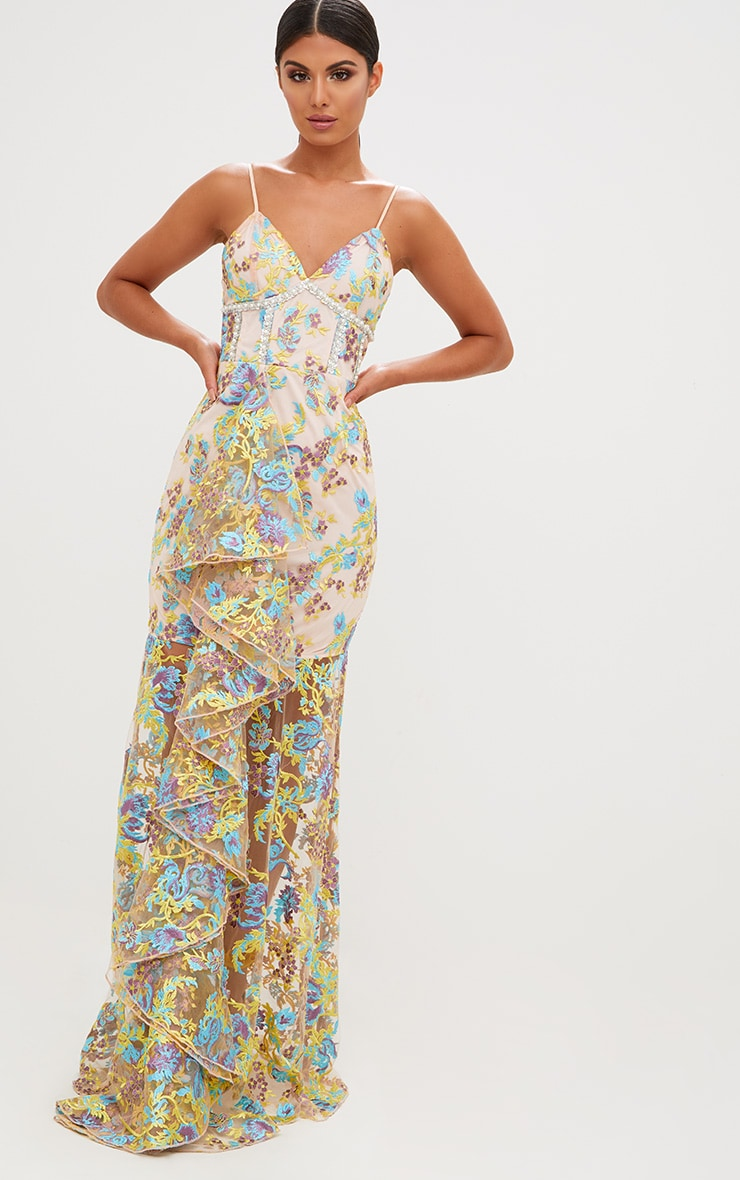 14b0052ee03 Premium Yellow Floral Embroidered Maxi Dress image 1