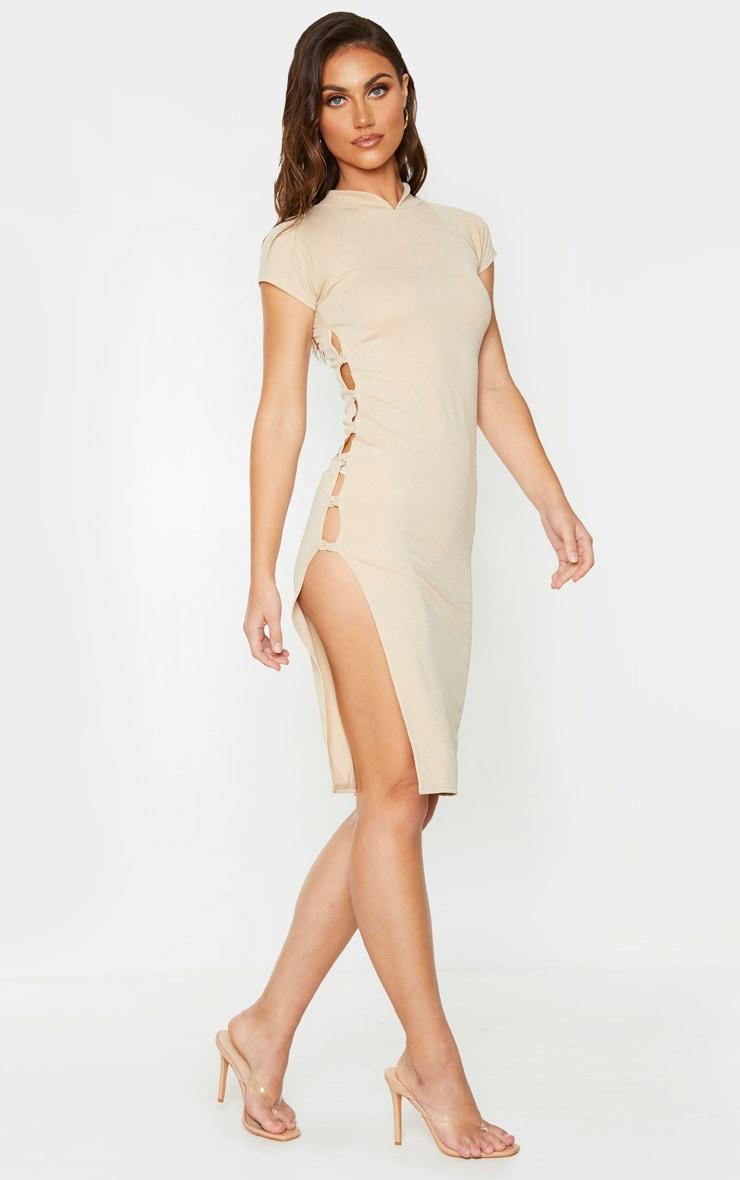 Stone Short Sleeve Oriental Detail Midi Dress 3