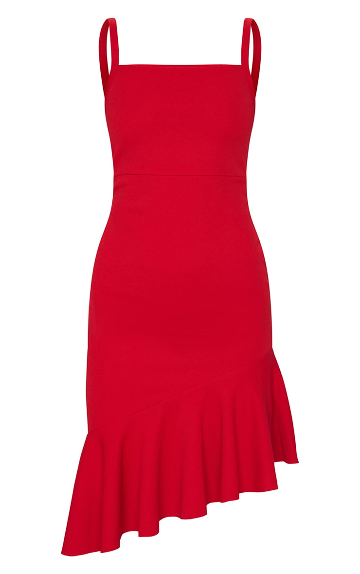 Red Asymmetric Hem Midi Dress 5