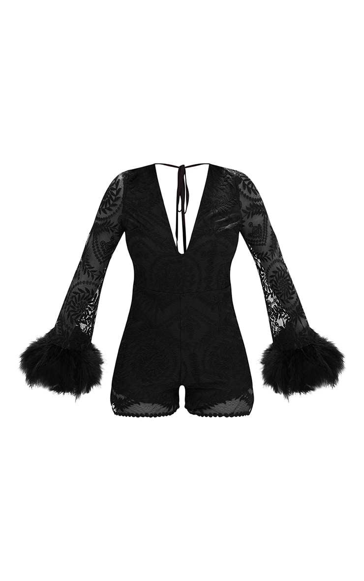 Black Lace Long Sleeve Feather Trim Playsuit 3