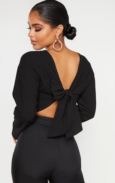 Petite Black Tie Back Cropped Blouse