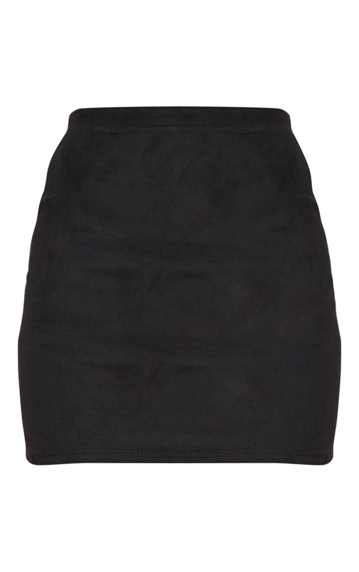 Black Basic Faux Suede Mini Skirt 3