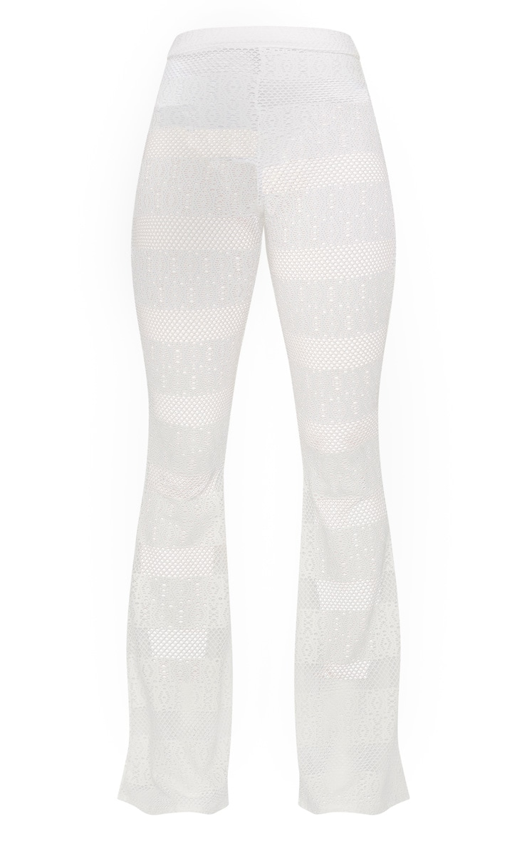 White Crochet Flared Trousers 3